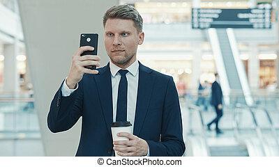 homme affaires, jeune, confection, photo