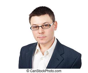 homme affaires, jeune, fond, isolé, blanc