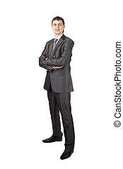 homme affaires, jeune, fond, isolé, sourire, blanc