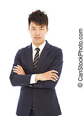 homme affaires, jeune, isolé, blanc, asiatique