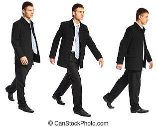 homme affaires, jeune, promenades