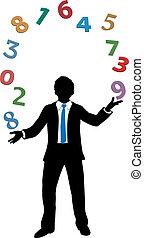 homme affaires, jonglerie, financier, numéroter crunching