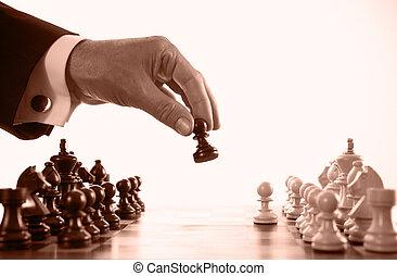 homme affaires, jouant échecs, jeu, tonalité sepia