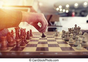 homme affaires, jouer, échecs, game., concept, de, stratégie commerciale, et, tactique
