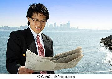 homme affaires, lecture