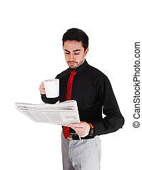 homme affaires, lecture, paper.