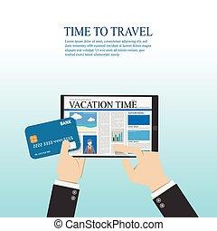 homme affaires, lecture, sur, plat, numérique, vecteur, crédit, information, tablette, carte, usage, voyage, main., conception, tenue, illustration