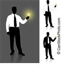 homme affaires, lightbulb, ensemble