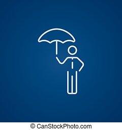 homme affaires, ligne, parapluie, icon.
