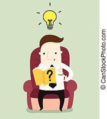 homme affaires, livre lecture