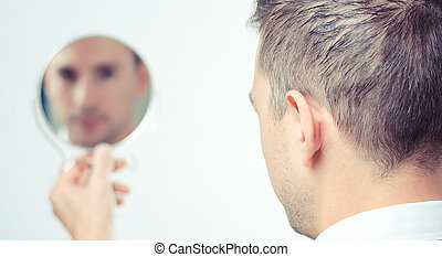 homme affaires, lokking, dans, les, miroir, et, refléter