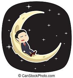 homme affaires, lune endormie