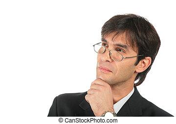 homme affaires, lunettes