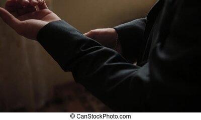 homme affaires, mâle, redresse, sien, jacket., élégant