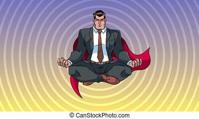 homme affaires, méditer, super