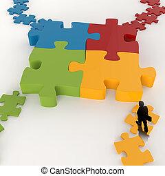 homme affaires, métal, puzzle, icône, 3d, concept, ...