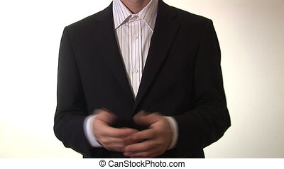 homme affaires, métrage, -, stockage