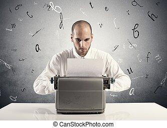 homme affaires, machine écrire