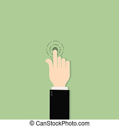 homme affaires, main, déclic, icône