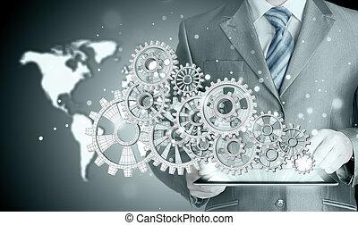 homme affaires, main, engrenage, reussite, toucher, concept
