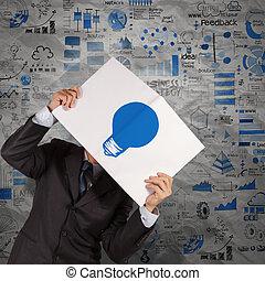 homme affaires, main, exposition, lumière bleue, ampoule, livre, de, stratégie commerciale, fond, comme, concept