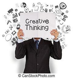homme affaires, main, exposition, pensée créatrice,...