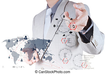 homme affaires, main, fonctionnement, à, nouveau, moderne, informatique, et, stratégie commerciale, et, social, réseau, comme, concept