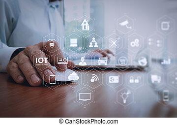 homme affaires, main, fonctionnement, à, technologie moderne, comme, stratégie commerciale, concept