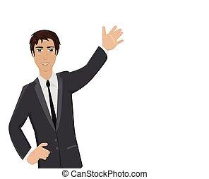 homme affaires, main haut, jeune