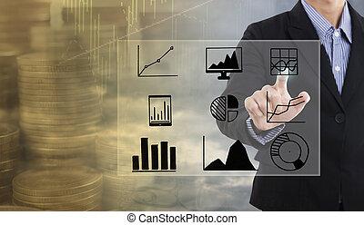 homme affaires, main, points, à, business, graphique, finance, stratégie, diagramme