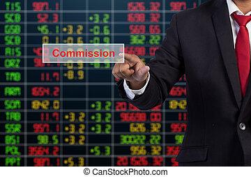 homme affaires, main, toucher, commission, signe, sur, virtuel, écran
