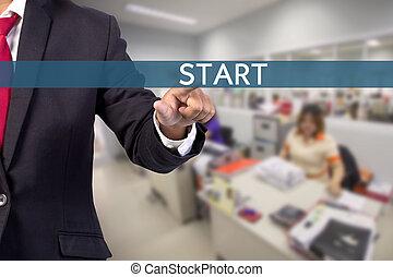 homme affaires, main, toucher, début, signe, sur, virtuel, écran
