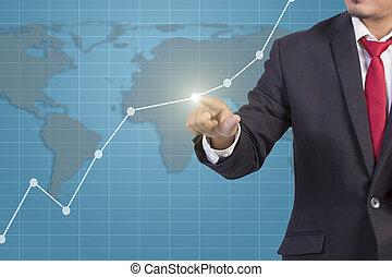 homme affaires, main, toucher, graphique, sur, virtuel, écran