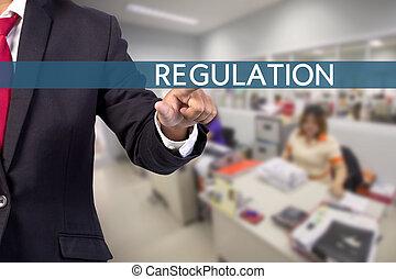 homme affaires, main, toucher, règlement, signe, sur, virtuel, écran