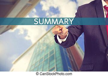 homme affaires, main, toucher, résumé, signe, sur, virtuel, écran, vendange, couleur