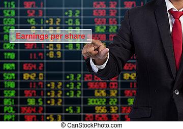 homme affaires, main, toucher, revenus, par, part, signe, sur, virtuel, écran