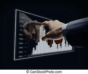 homme affaires, main, toucher, virtuel, diagramme
