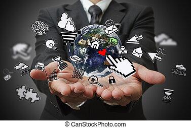 homme affaires, mains, exposition, internet, concept