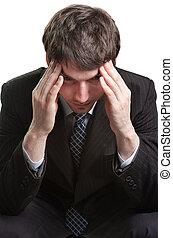 homme affaires, mal tête, accentué, fatigué