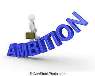 homme affaires, marche, ambition