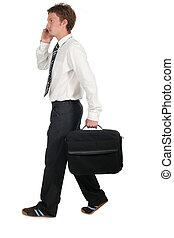 homme affaires, marche