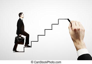 homme affaires, marche, escalier