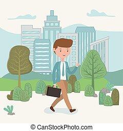 homme affaires, marche, parc, jeune