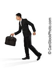 homme affaires, marche, porter