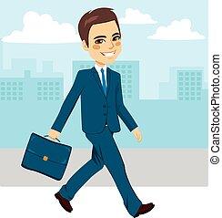homme affaires, marche, rue