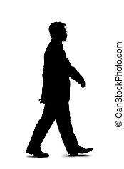 homme affaires, marche, silhouette, en avant!