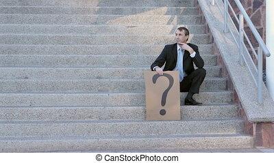 homme affaires, marque, question, signe
