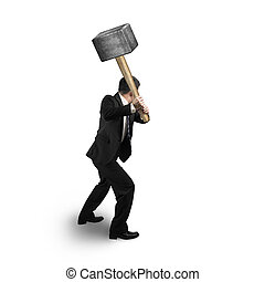 homme affaires, marteau, tenue, grand