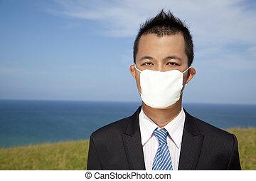 homme affaires, masque, dépression