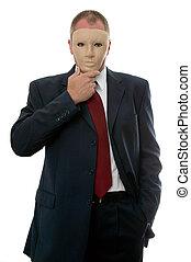 homme affaires, masque, figure